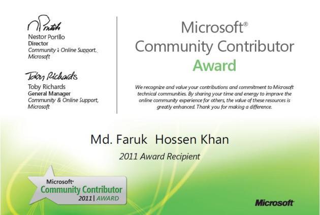 Microsoft® Community Contributor Award